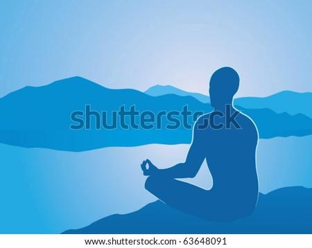 Vector illustration of meditation at dawn - stock vector