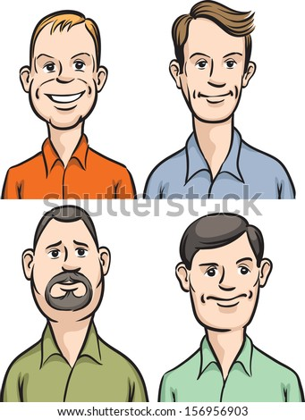 Vector illustration of Men cartoon faces. Easy-edit layered vector EPS10 file scalable to any size without quality loss. High resolution raster JPG file is included. - stock vector