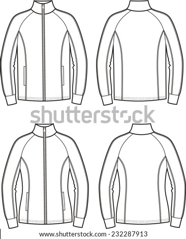 Vector illustration of men's and women's sport jackets. Front and back views - stock vector