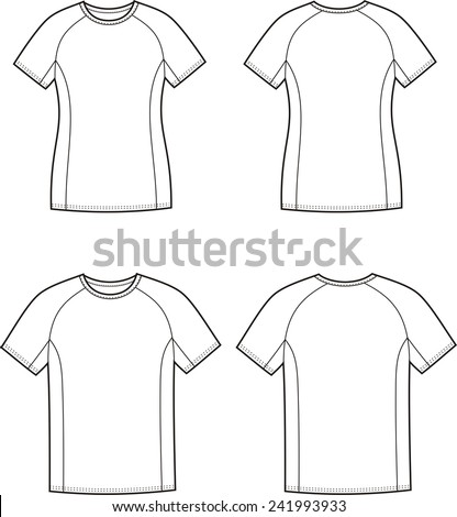 Vector illustration of men's and women's sport t-shirt. Front and back views - stock vector