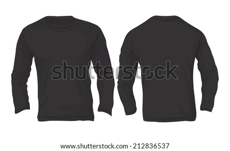 Vector illustration of men's long sleeved t-shirt template in black color isolated on white, front and back design - stock vector
