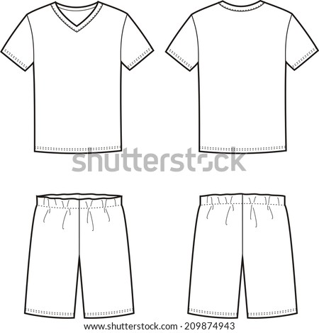 Vector illustration of men's sleepwear. T-shirt and shorts. Front and back views - stock vector