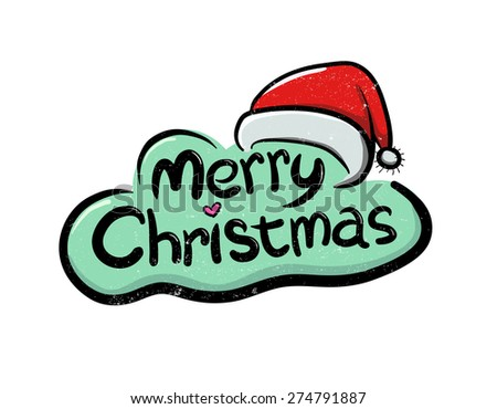 Vector illustration of Merry Christmas greetings text - stock vector