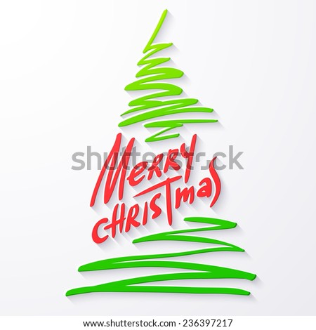 Vector illustration of Merry christmas lettering isolated on white background. 2015 xmas text and image of fir for your design. Color paper applique with shadow. Sticker for congratulation cards.  - stock vector