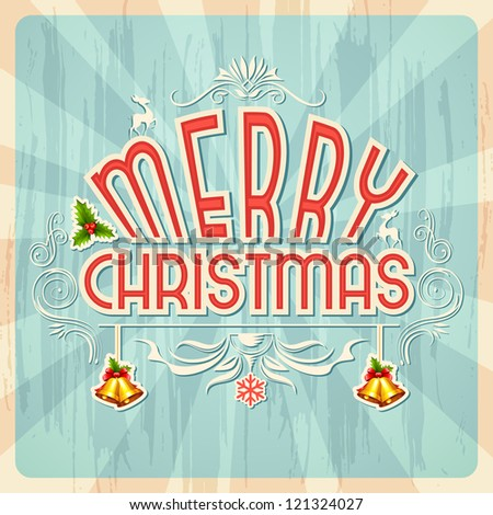 vector illustration of Merry Christmas retro background - stock vector