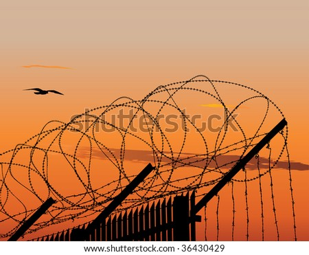 Vector illustration of metallic fence topped with barbed wire against sunset sky - stock vector