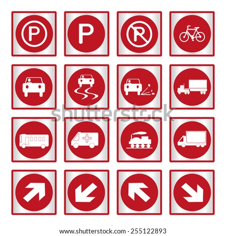 Vector illustration of Metallic set red transport and road signs - stock vector