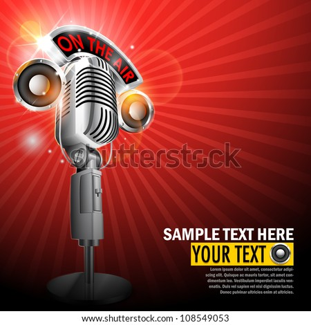 vector illustration of microphone with on air tag on musical background - stock vector