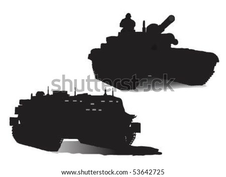Vector illustration of military tanks. - stock vector