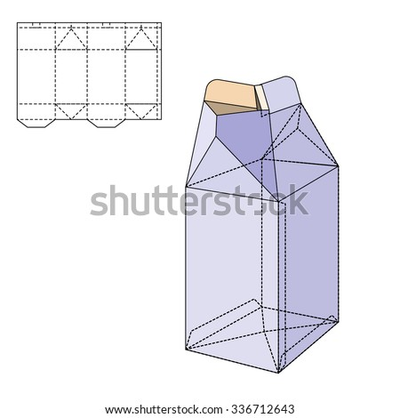 Vector Illustration of Milk or juice craft Box for Design, Website, Background, Banner. Folding package Template. Fold pack with die line for your brand on it - stock vector