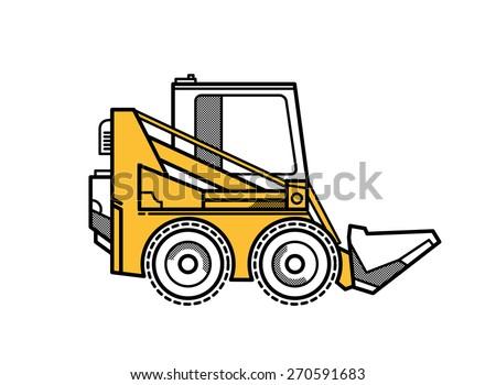 Vector illustration of  mini loader - stock vector
