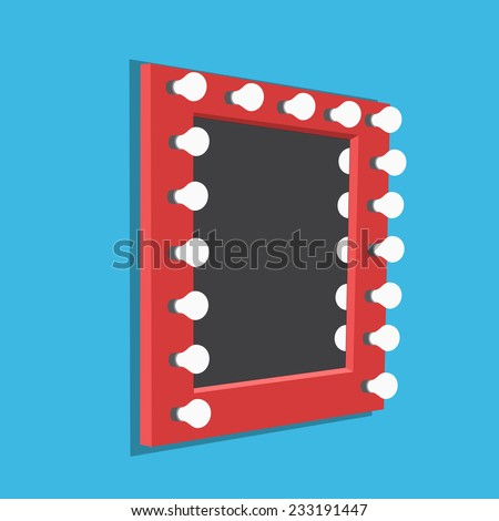 Vector illustration of mirror with bulbs for makeup - stock vector