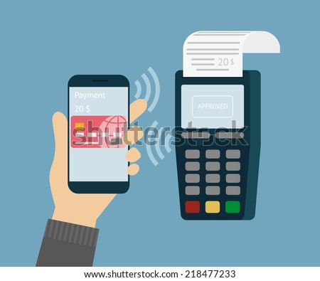 Vector illustration of mobile payment via smartphone. - stock vector