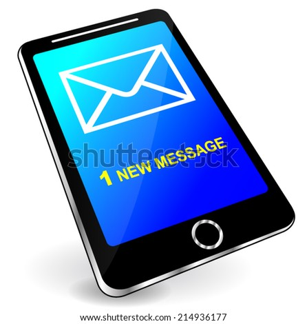 Vector illustration of mobile phone new message concept - stock vector