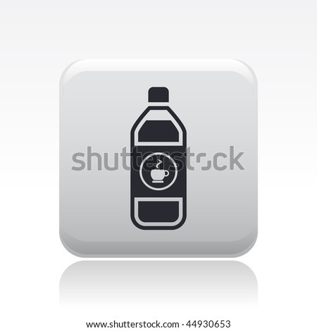 Vector illustration of modern black icon depicting a bottle of coffe, tisane or tea - stock vector