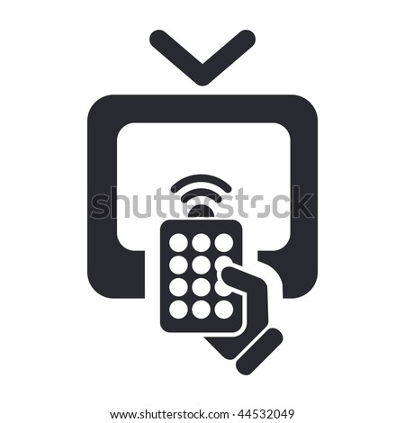 Vector illustration of modern black icon depicting a remote tv - stock vector