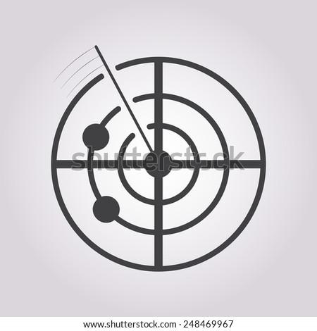 vector illustration of modern black icon radar - stock vector
