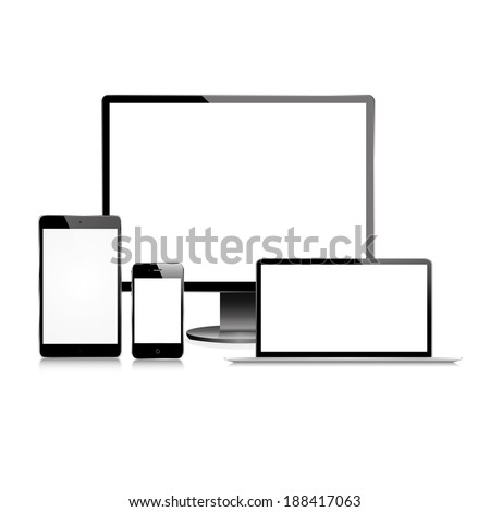vector illustration of modern black monitor, tablet, phone and laptop on a white background - stock vector
