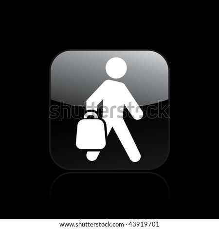 Vector illustration of modern glossy black icon depicting a shopping icon - stock vector