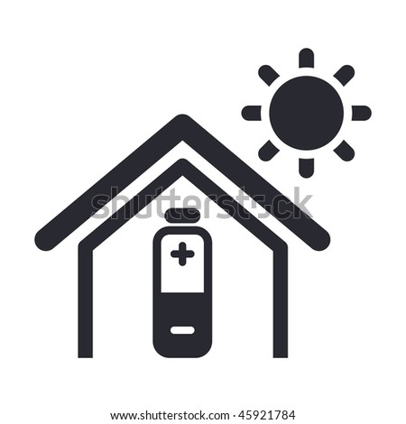 Vector illustration of modern glossy icon depicting a home powered by solar energy - stock vector
