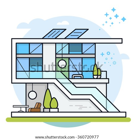 Vector illustration of modern house. House icon. Real estate. Eps 10. - stock vector