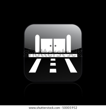 Vector illustration of modern icon depicting a gate on the street - stock vector