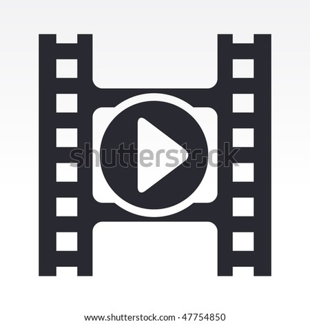 Vector illustration of modern icon depicting a play button of a video player - stock vector