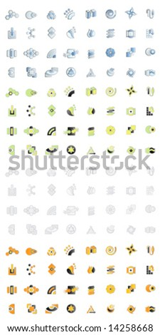 Vector illustration of 32 modern logo designs in four different color variations. 128 logos in all. - stock vector
