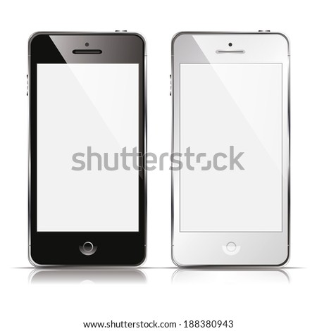 vector illustration of modern mobile phone black and white on a white background - stock vector