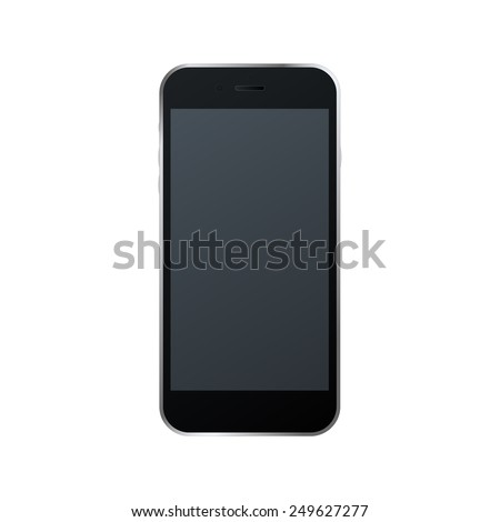 vector illustration of modern technology device - black mobile phone mockup with blank screen. Smart phone isolated  - stock vector