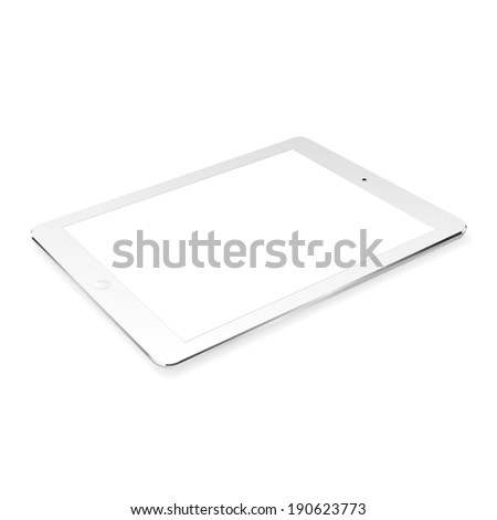 vector illustration of modern thin white plate on a white background - stock vector