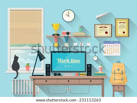Vector illustration of  modern workplace in room. Creative office workspace with equipment, elements, objects. Flat minimalistic style in stylish colors. Flat design with long shadows, icon collection - stock vector