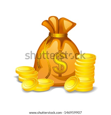 vector illustration of money bag filled with gold coin - stock vector