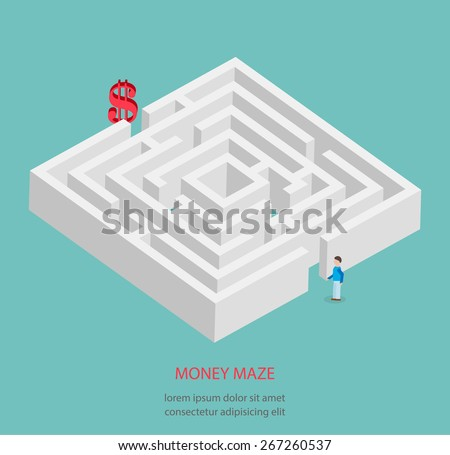 Vector illustration of money maze. Isometric 3d creative concept with tiny human - stock vector