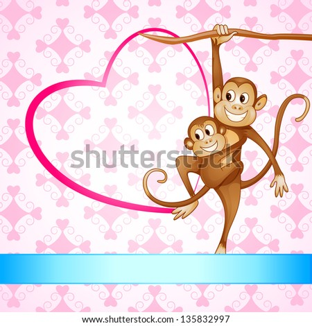 vector illustration of monkey swinging with kid - stock vector