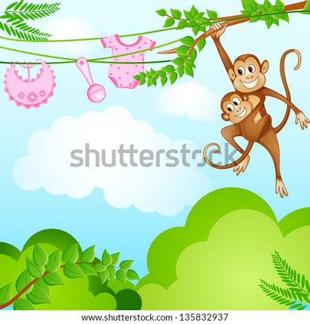 vector illustration of monkey swinging with kid in baby shower background - stock vector