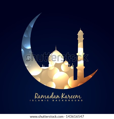vector illustration of moon with mosque - stock vector