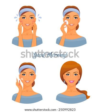 Vector illustration of Morning treatments for skin - stock vector