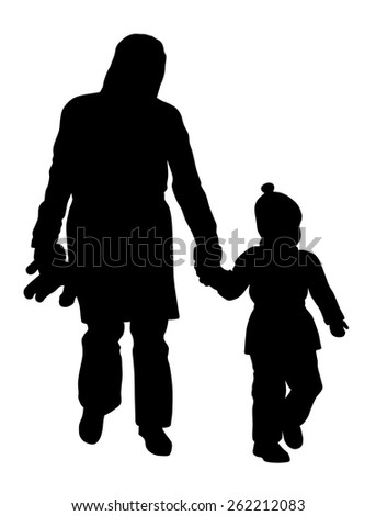 Vector illustration of mother and her child walking in the parks - stock vector