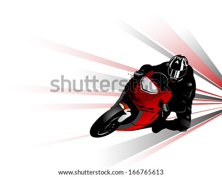 Vector illustration of motorcycle racer - stock vector