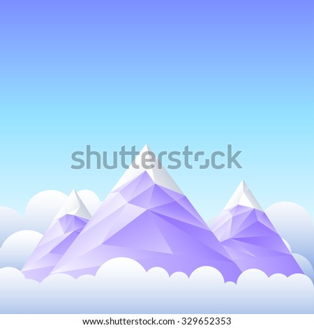 Vector illustration of mountain peaks and the sky. - stock vector