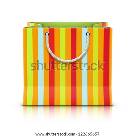 Vector illustration of multicolored paper shopping bag isolated on white background. - stock vector