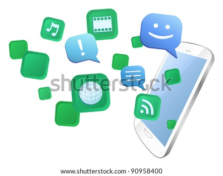 Vector illustration of multitasking with white multimedia touch screen mobile phone. Eps8 file grouped, layered and named for easy editing. - stock vector
