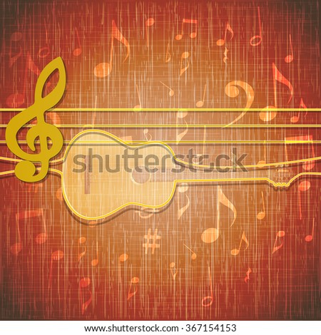 Vector illustration of musical background musical strings as a guitar loop on the texture background with music notes. - stock vector