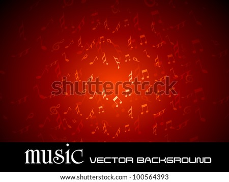Vector illustration of musical background with fly music notes on red background, can be use as flyer, banner or poster in disco party and other events. EPS 10. Vector illustration. - stock vector