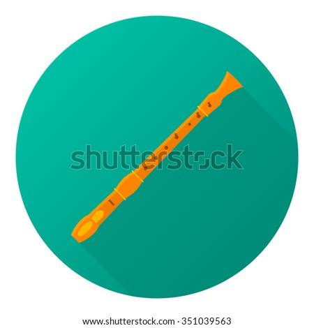 Vector illustration of musical instrument. Flat flute with shadow. - stock vector
