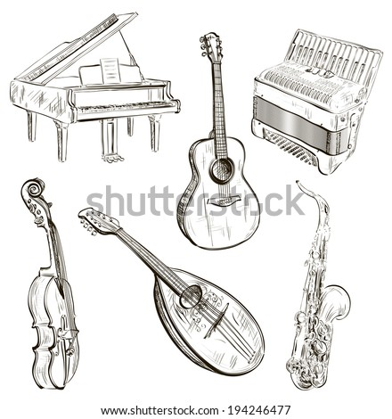 Vector illustration of musical instruments in sketch-style  - stock vector