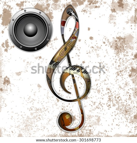 vector illustration of musical instruments in the hole treble Clef trumpet, saxophone, piano keys, jazz guitar, acoustic guitar and an audio speaker - stock vector