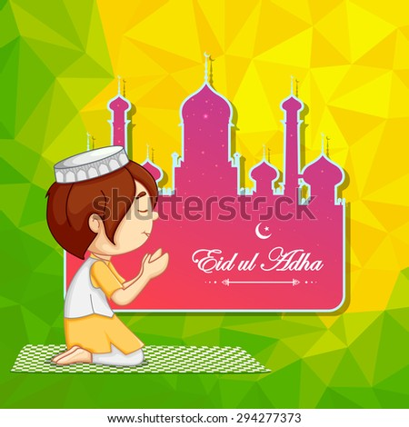 vector illustration of muslim offering namaaz for Eid ul Adha (Festival of the sacrifice) - stock vector