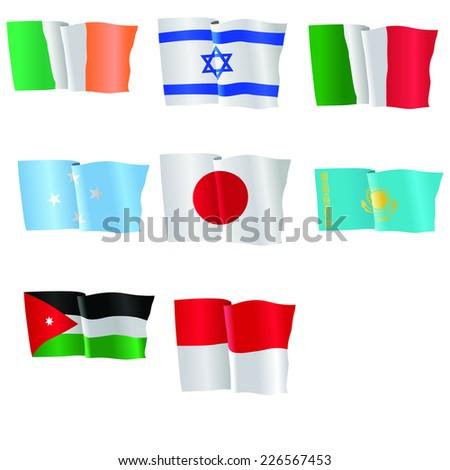 vector illustration of national flag of Ireland,, Italy, Micronesia, Japan, Jordan, Kazakhstan, Monaco  - stock vector